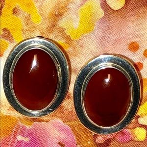 RedCoral and Sterling Clip Earrings